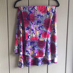 LuLaRoe large (14-16) blue & roses maxi skirt